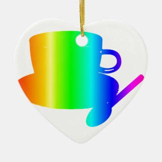 Regenbogen-Schale, Saucer, Löffel Keramik Herz-Ornament