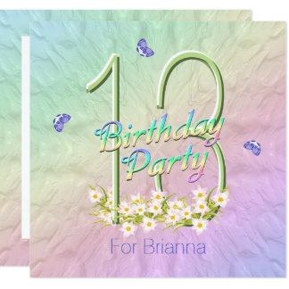Regenbogen Schmetterlings 13. Geburtstags Party Quadratische 13,3 Cm  Einladungskarte