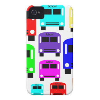 Regenbogen-Schulbusse iPhone 4 Cover