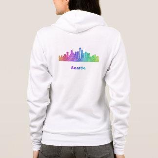 Regenbogen-Seattle-Skyline Hoodie