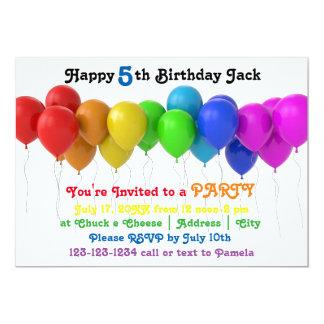Regenbogen steigt Geburtstags-Einladung im Ballon 12,7 X 17,8 Cm Einladungskarte