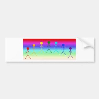 Regenbogen-Strichmännchen (Kreis) Autoaufkleber