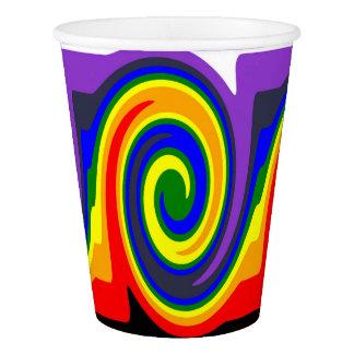 Regenbogen-Strudel-Wellen-Entwurf gemacht von den Pappbecher