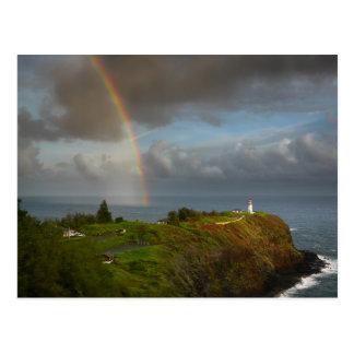 Regenbogen über Leuchtturm auf Kauai-Postkarte Postkarten
