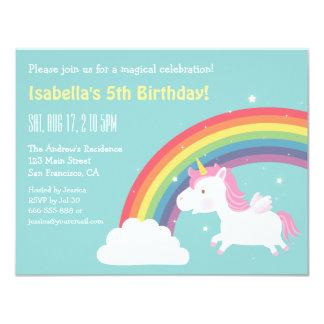 Regenbogen und Unicorn-Mädchen-Geburtstags-Party 10,8 X 14 Cm Einladungskarte