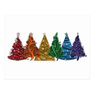Regenbogen-Weihnachtsbäume Postkarte