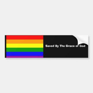 Regenbogenflagge, gerettet von Gnaden des Gottes Autoaufkleber