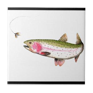 Regenbogenforelle-Fliegen-Fischen Kleine Quadratische Fliese