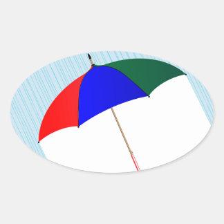 Regenschirm im Regen Ovaler Aufkleber