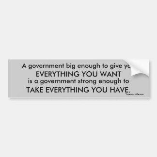 Regierungs-Zitatstoßdämpfer Thomas Jefferson Autoaufkleber
