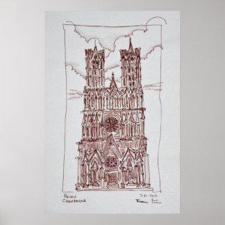 Region Reims-Kathedralen-| Champagne, Frankreich Poster