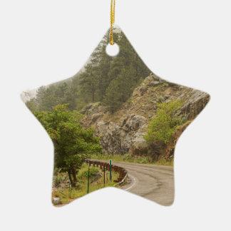 Regnerischer nebelhafter Boulder-Nebenfluss und Keramik Stern-Ornament