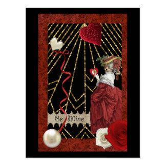 Reiche Rottöne Marie Antoinette Mode-Valentinsgruß Postkarte