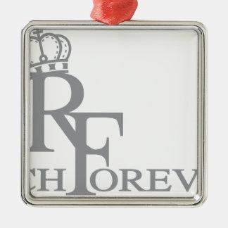 Reiches forever_11.ai quadratisches silberfarbenes ornament