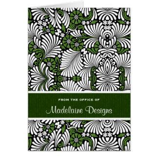 Reiches Grün mit weißen belaubten Wedeln Mitteilungskarte