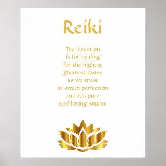 Reiki Goldlotos-Blume Poster
