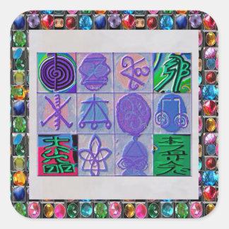 Reiki n Karuna heilendes Zeichen 12    V24 Quadrat-Aufkleber