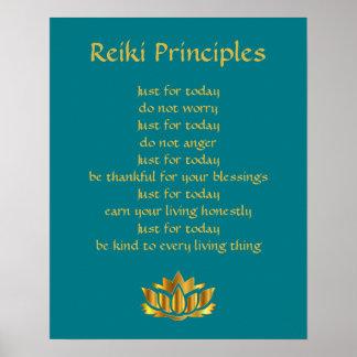 Reiki Prinzipien aquamarin/Goldlotos Poster