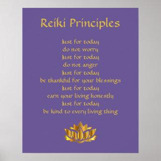 Reiki Prinzipien Lila/Goldlotos Poster