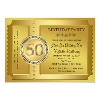 Reine Goldkarten-50. Geburtstags-Party 12,7 X 17,8 Cm Einladungskarte
