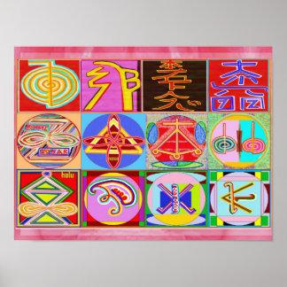 Reine REIKI heilende Kunst - 12 Symbole Poster