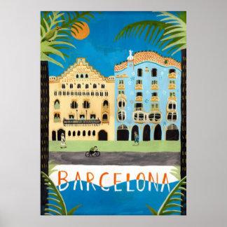 Reise PLAKAT, Barcelona, Spanien Poster
