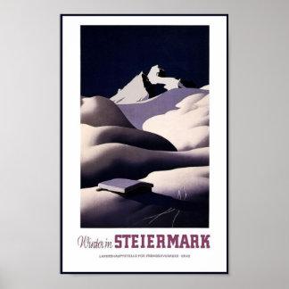 Reise-Plakat-Vintager Winter Steiermark Österreich Poster
