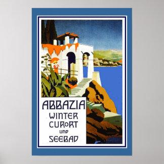 Reise-Plakat Vintages Abbazia Italien Poster