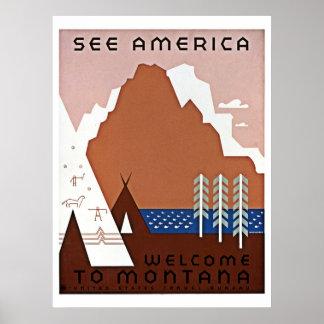 Reise sehen Sie Amerikas, Montana WPA Poster