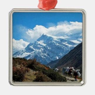 Reise-Sommer Himalaja-Mount Everest-Indiens Nepal Quadratisches Silberfarbenes Ornament