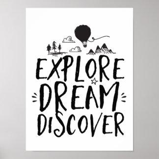 Reise-Zitat erforschen Traum entdecken Plakat