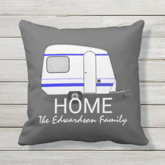 Reiseferienwohnwagen Zuhause-Familienmonogramm Kissen Für Draußen