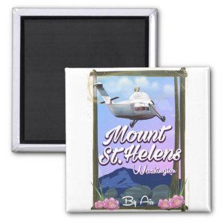 Reiseplakat des Mount Saint Helens Washington Quadratischer Magnet