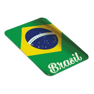 Reiseplakat nationaler Flagge Brasiliens Vintages Magnet