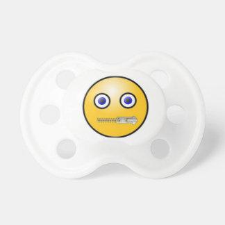 Reißverschluss zugemachte Mund Emoji Attrappe, Schnuller