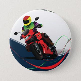 Reiten eines roten Motorrades Runder Button 7,6 Cm