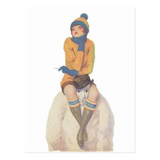 Reiten Sie den Schneemann Postkarte