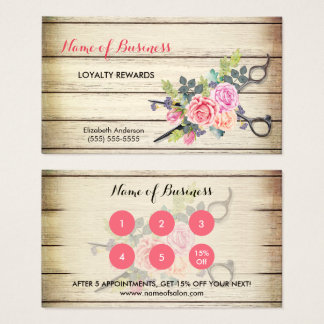Reizend hölzerne Schere-und Rosen-Salon-Loyalität Visitenkarte