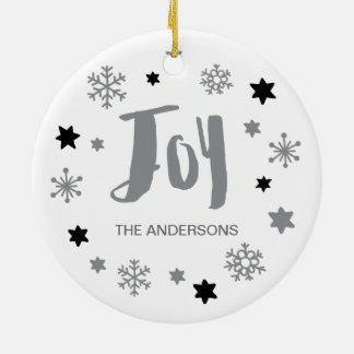 Reizend modischer Freude-silbernes Grau-Feiertag Rundes Keramik Ornament