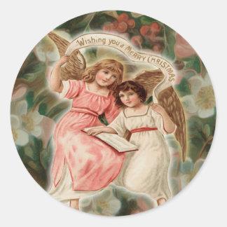Reizend Vintage Engel-Engel Runder Aufkleber