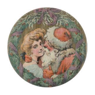 Reizend Vintager küssender Sankt-WeihnachtsWreath Schneidebrett