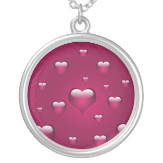 reizende rosa Herzen Versilberte Kette