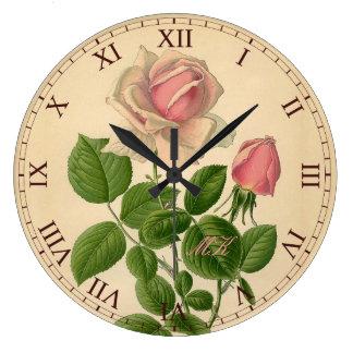 Reizende Vintage rosa hybride Tee-Rosen-römische Uhr