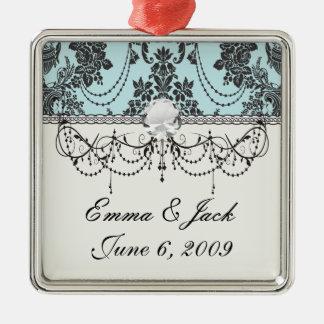 Reizender Rosenschwarz- und Babyblaudamast Silbernes Ornament