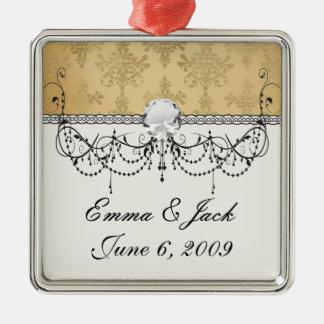 reizender Vintager beunruhigter Golddamast Silbernes Ornament