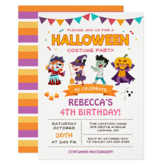 Reizendes Halloween scherzt Kostüm-Party Einladung