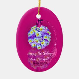 Reizendes Pansy-Zerstäuber-Geburtstags-Party Keramik Ornament