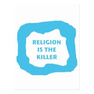 Religion ist der Mörder, blaues .png Postkarte