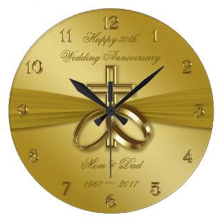 Religiöse goldene 50. Hochzeitstag-Uhr Große Wanduhr