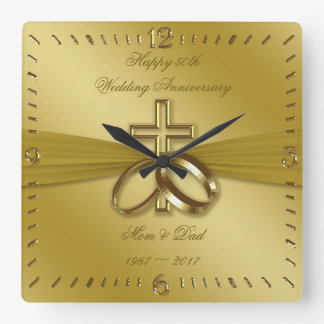 Religiöse goldene 50. Hochzeitstag-Uhr Quadratische Wanduhr